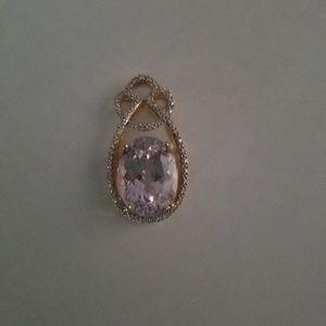 Genuine Kunzite and Diamond Pendant.